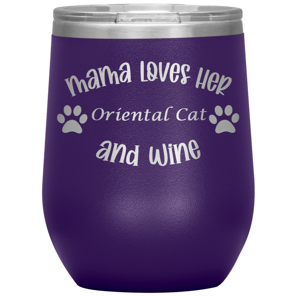 Mama Loves Her Oriental Cat and Wine