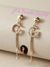 Load image into Gallery viewer, G Studded Inspired Dangle Earrings