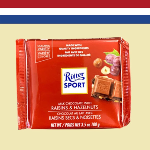 Ritter Sport Milk Chocolate with Rasins & Hazlenuts