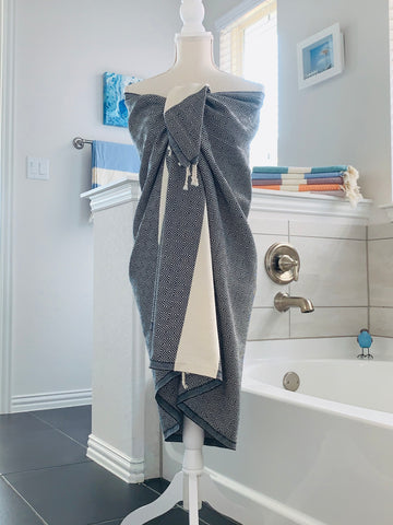 Aegean Black Peshtemal Turkish Towel