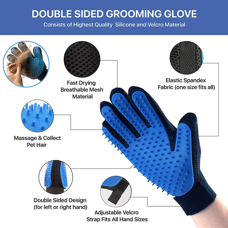 Professional Grooming Brush Rake With Grooming Gloves