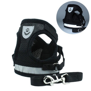 Reflective Adjustable Harness Vest With Walking Leash