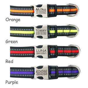 Reflective Nylon Personalized Engraved Dog Collar With Custom ID Tag
