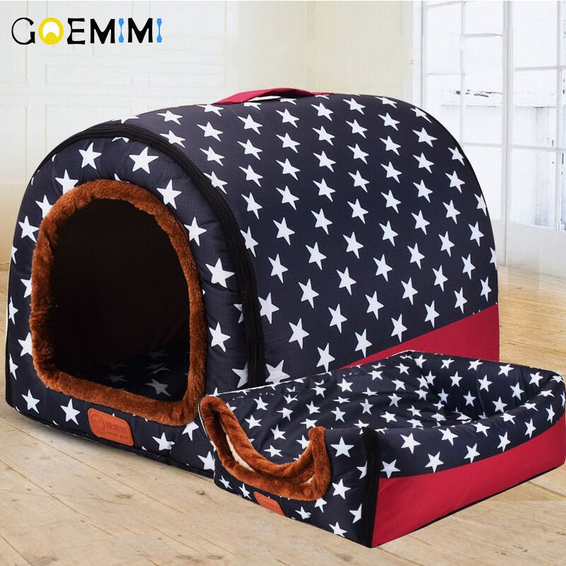 New Warm Comfortable Dog House With Printed Stars Kennel Mat