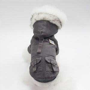 Hooded Dog Jacket With Warm Fleece