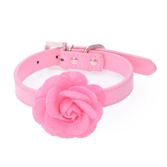 Cute Little Leather Rose Flower Dog Collar Necklace