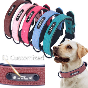 Adjustable Soft Leather Collar With Personalized Name ID Tag