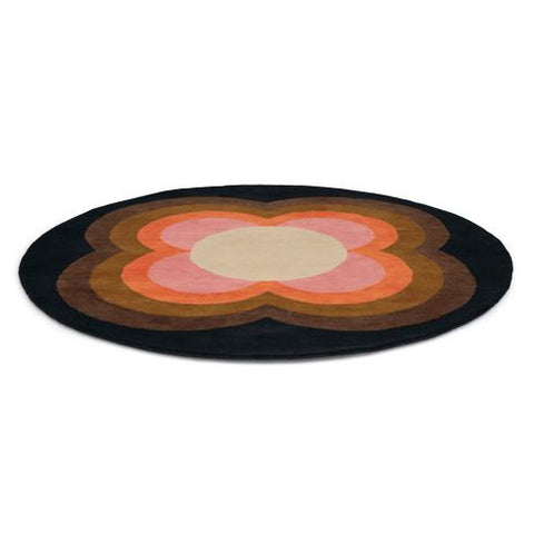 Image of Orla Kiely Sunflower Pink Rond 060005 Vloerkledentrends