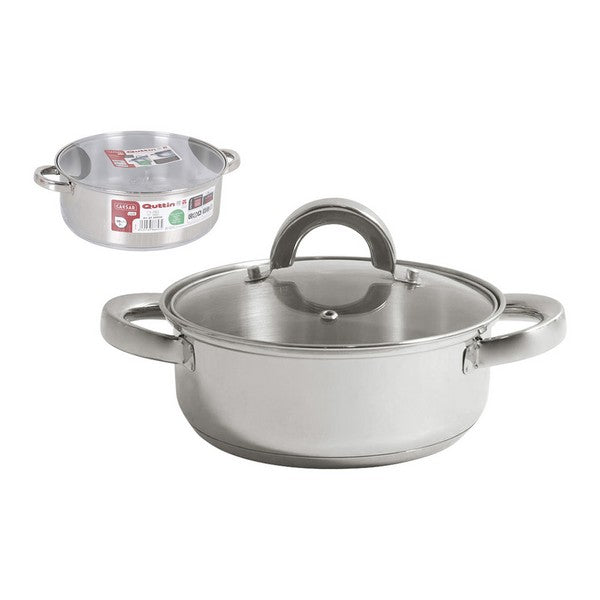 Casserole with glass lid Quttin Steel (ø 28 cm)
