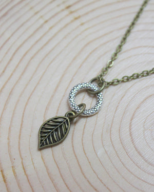 Brass Leaf Mixed Metal Short Necklace