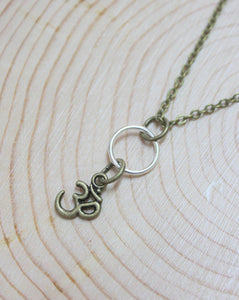 Brass Om Mixed Metal Short Necklace