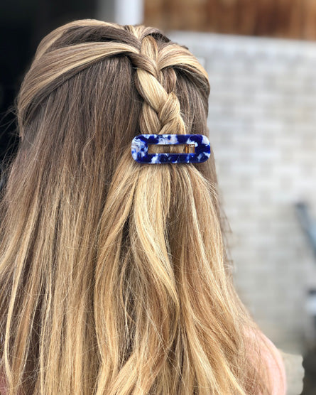 Dark Blue Marble Barrette