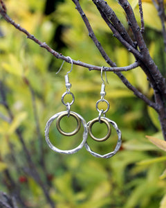 Double Circle Silver Earrings