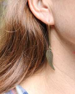 Wing Brass Earrings