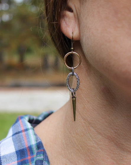 Four Directions Mixed Metal Earrings