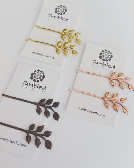 Leaf Branch Bobby Pins