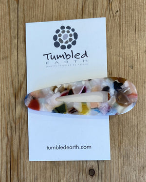 Multi-Colored Pale Marble Barrette