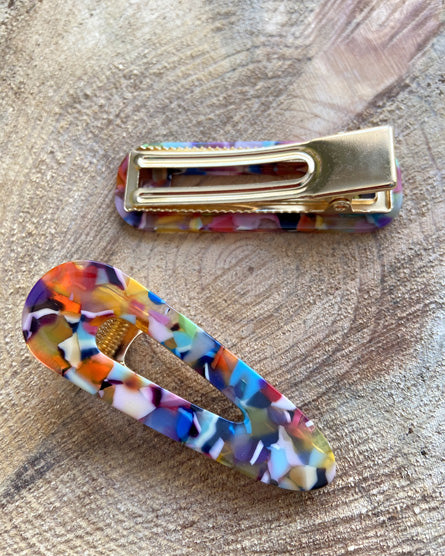Multi-Colored Marble Barrette