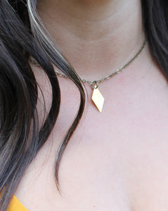 Raw Brass Diamond Choker
