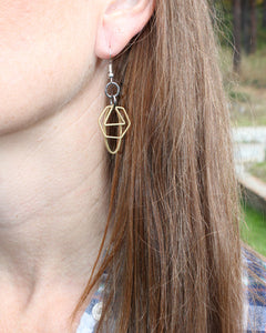 Raw Brass Geometric Mixed Metal Earrings