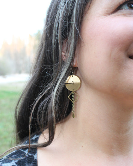 Full Moon Raw Brass Earrings