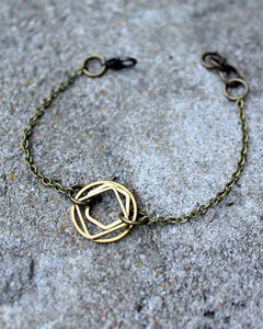 Raw Brass Stacked Shapes Bracelet