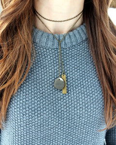 River Stone + Bar Lariat Necklace