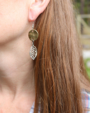 Silver Leaf Brass Disc Mixed Metal Earrings