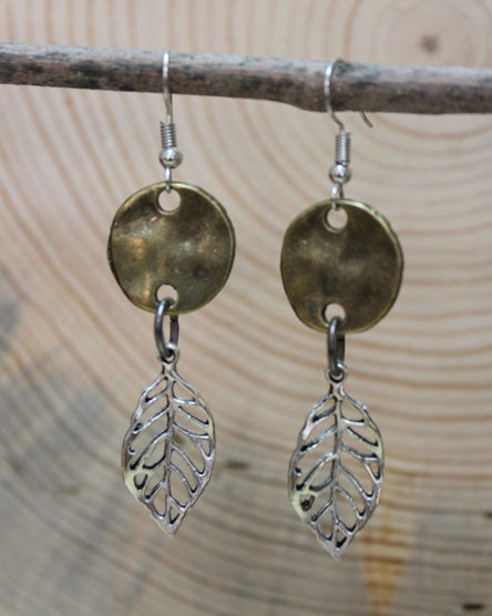 Silver Leaf Mixed Metal Earrings