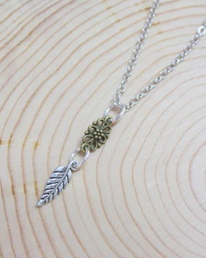 Silver Leaf Mixed Metal Short Necklace