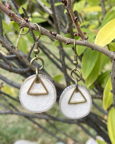 Triangle Raw Brass Wood Earrings