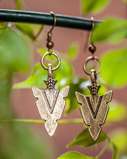 Antique Brass Arrowhead Earrings