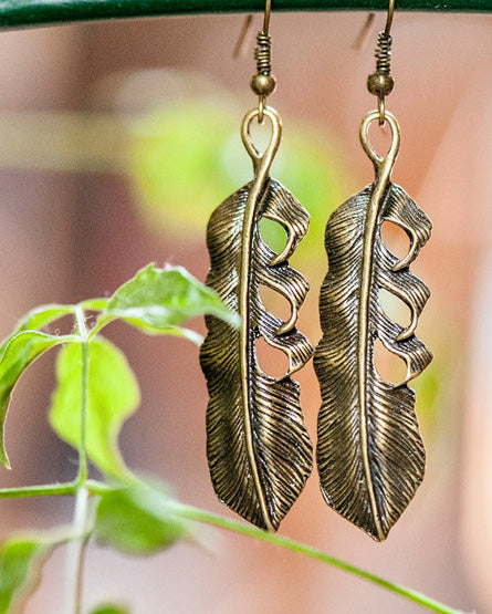 Antique Brass Feather Earrings