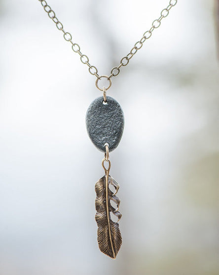 Antique Brass Feather Necklace