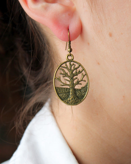 Antique Brass Forest Earrings