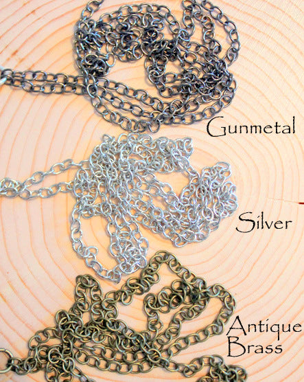 Silver Leaf + Stone Necklace