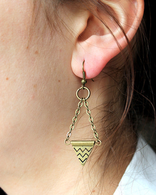 Chevron Triangle Earrings