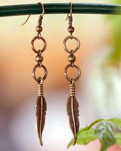 Double Loop Feather Earrings