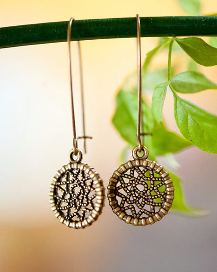 Dream Catcher Brass Earrings