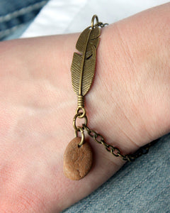 Feather + River Stone Bracelet