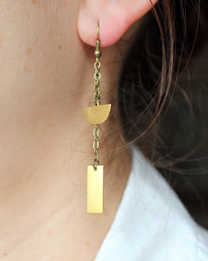 Rectangle + Half Circle Chain Earrings