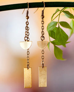 Geometric Raw Brass Chain Earrings
