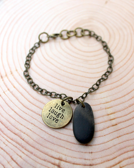 Live Laugh Love River Stone Bracelet