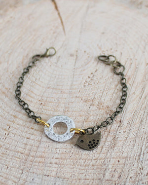 Mixed Metal Brass Bird Bracelet