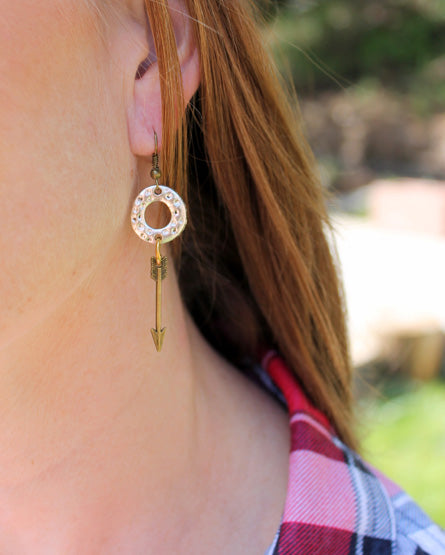 Mixed Metal Brass Arrow Earrings