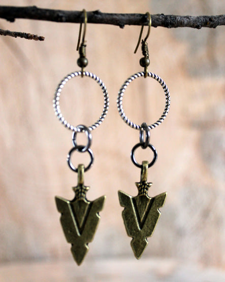 Brass Arrowhead Mixed Metal Earrings