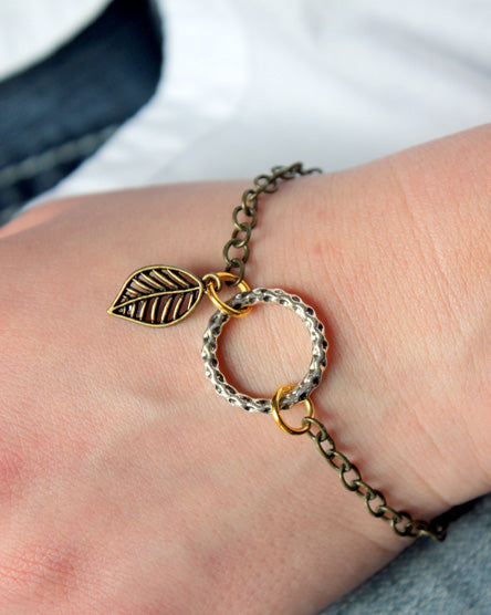 Mixed Metal Brass Leaf Bracelet