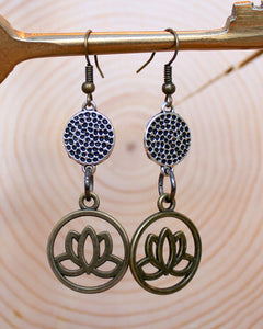 Brass Lotus Mixed Metal Earrings