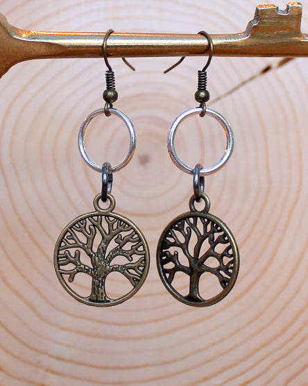 Brass Tree Of Life Mixed Metal Earrings