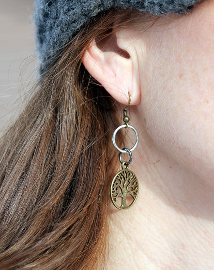 Mixed Metal Brass Tree Of Life Earrings